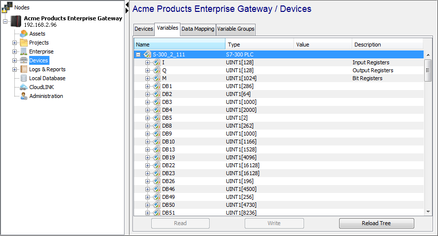 Using the Variables window to access Siemens S7 device variables