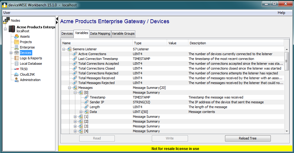 Using the Variables window to access Siemens S7 Listener connection data