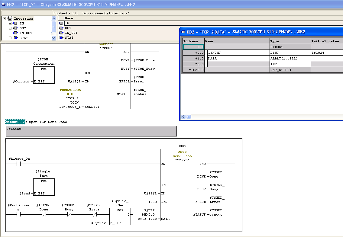 Defining a Siemens TCP Send message using the Step 7 software