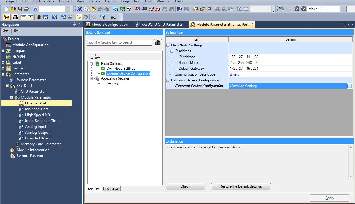 Configuring an FX5U CPU